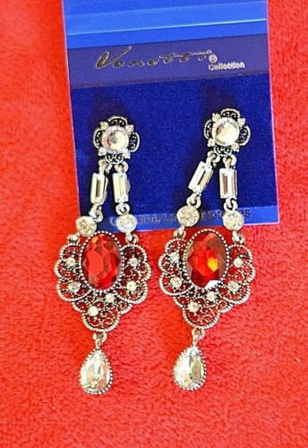 New silver colour  drop earrings  with authentic crystals and  coloured stones