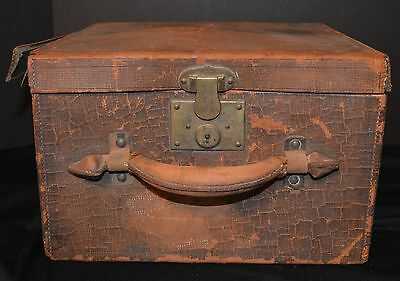 Antique Leather Hat Box  Sold AS IS No Key