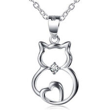 Heart Tail Bowknot Kitten Cat Pendant 925 Sterling Silver Crystal CZ Necklace18""