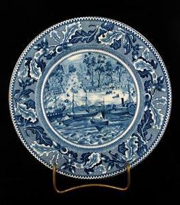 VINTAGE-JOHNSON-BROS-HISTORICAL-AMERICAN-SACRAMENTO-CA-TRANSFERRED-PLATE-8-034