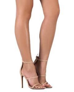 New-Women-Liliana-Golden-38-Suede-Open-Toe-Strappy-Stiletto-Single-Sole-Sandal