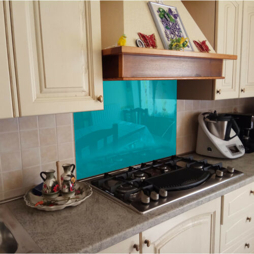 KÜCHENRÜCKWAND Spritzschutz Küche Gehärtetes Glas Türkis