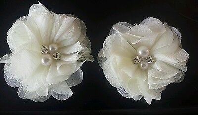 2 Ragazze Piccolo Crema Avorio 2 Pollici Per Capelli Fiore... Voile Per Capelli Clip Perla E Diamante- Alta Qualità