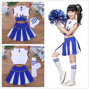 b6bc734a0e4 Details about GIRLS CLUB OUTFIT SCHOOL CHEERLEADER FOOTBALL RUGBY VARSITY  CHILD KIDS COSTUME