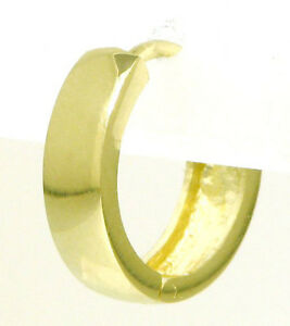 Single-Gold-Creole-Herren-Klappcreole-Ohrring-585-Gelbgold-14K-NEU-14-5mm-d-mess