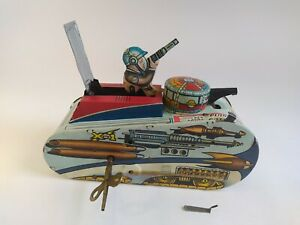 Marx-Rex-Mars-Planet-Patrol-X-1-Tin-Wind-Up-Space-Tank-1953-Toy-Excellent-Condit