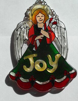 Christmas Angel Joy Stained Glass Sun Catcher Ornament Joan Baker Designs