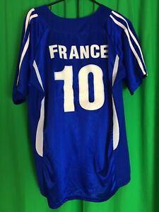 France National Football Team Zidane 10 Mens Jersey Blue Short Sleeve Mesh Xl Ebay
