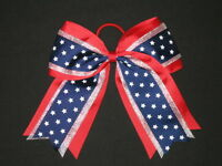 silver Red & Navy Stars Cheer Hair Bow Pony Tail 3 Ribbon Cheerleading