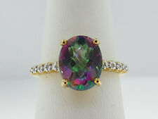 Estate MYSTIC Topaz Diamonds Solid 14K Yellow Gold Ring FREE SIZING