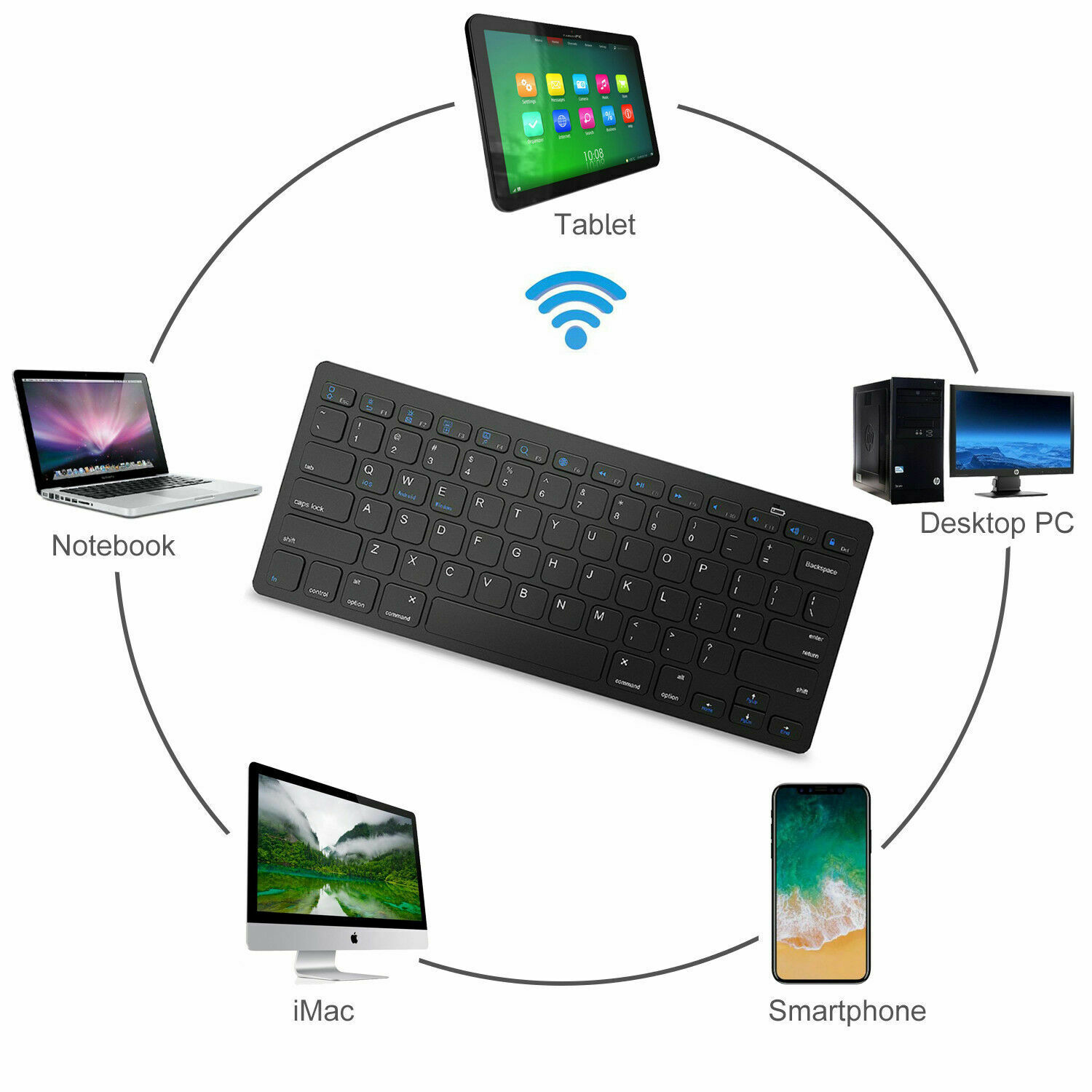 YRD TECH for PC Laptop Tablet Mini Bluetooth Keyboard Mouse Touchpad Black