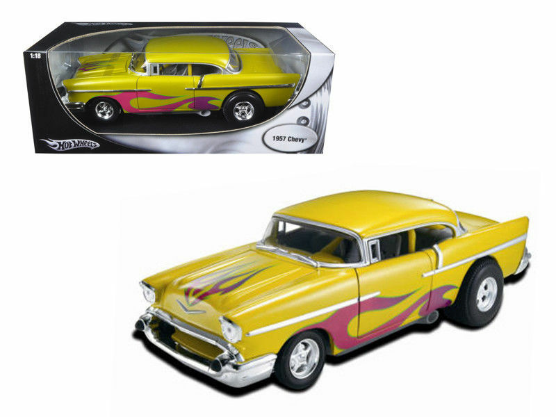 Hot Wheels 1 18 1957 Chevrolet Bel Air Yellow with Pink Flames Diecast Car 21356