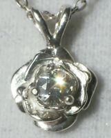 Lt Green 3mm Genuine Montana Sapphire .925 Sterling Silver Rose Pendant Necklace