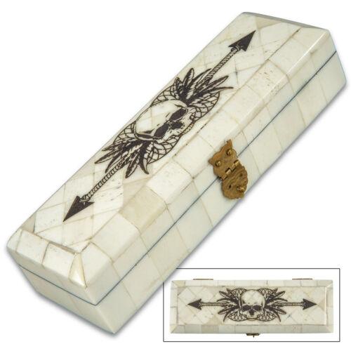 Skull /& Arrow Bone Box Jewelry Keepsake Organizer Treasure Chest Trinket Holder