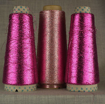 3 CONE CERISE & LIGHT PINK LUREX METALLIC GLITTER YARN MACHINE KNIT SPARKLE FINE