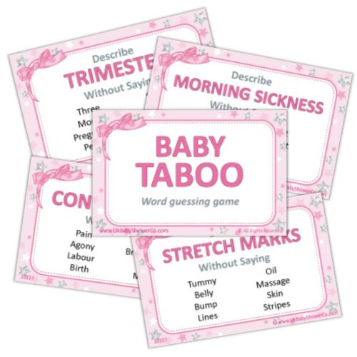 Bingo,Predictions,Pin the Dummy,Lust Labour Girl Baby Shower Games PINK STARS
