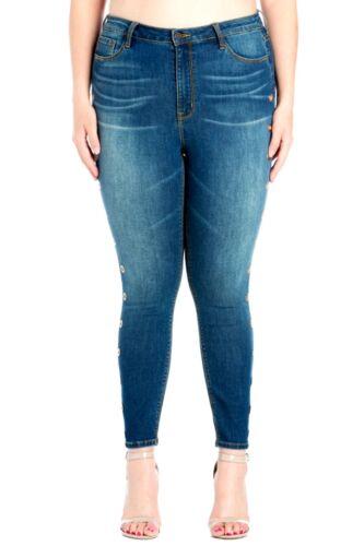 WOMENS PLUS SIZE BLUE Denim JEANS Stretchy Skinny High Waist Ring Hole Pants