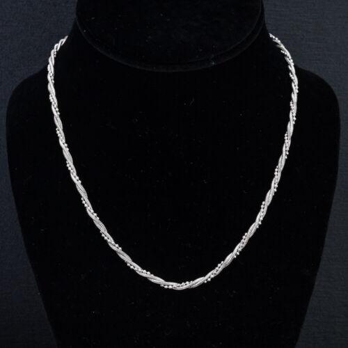 .925 Sterling Silver Snake & Beaded Twist Chain Ne