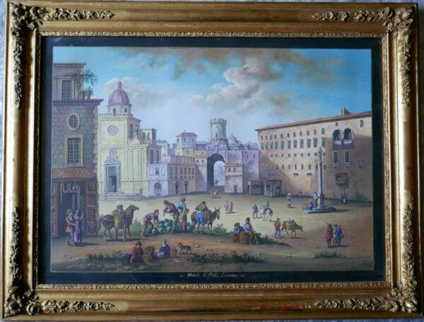 """veduta Di Porta Capuana A Napoli"" Gouache Signée E.labonne Ecole Napolitaine"