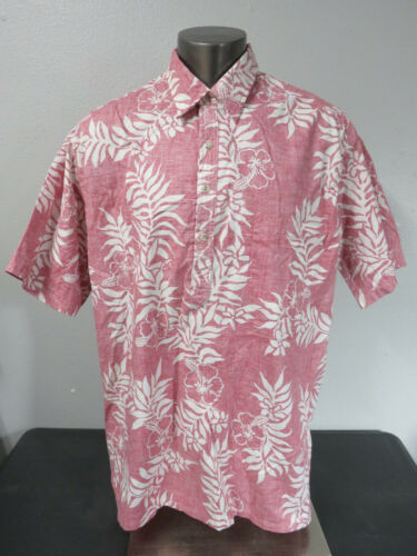 Mens Go Barefoot Red Floral Popover Polo Reverse P