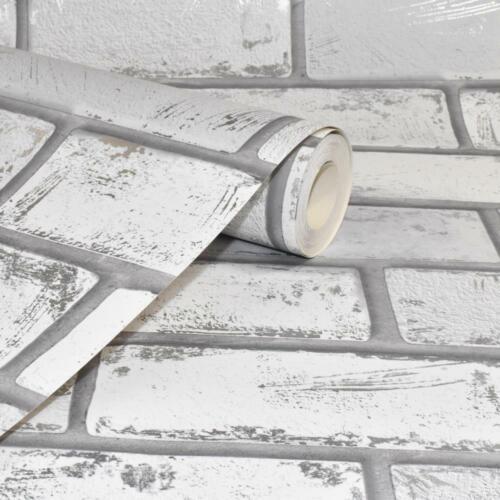 Effet 3D blanc argent métallique Brique Papier Peint Pierre Ardoise industriel Arthouse