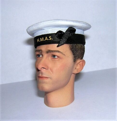 Banjoman 1:6 SCALA Custom WW2 Australiano Royal Navy Marinaio/'s Cap-Bianco