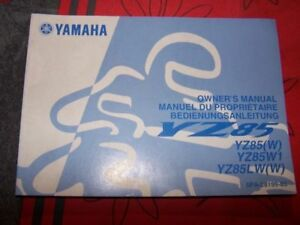 4s - Owner S Manual/bedienungsanleitung/manuel Du Proprietaire Yamaha Yz 85 Lw W Valeur Formidable
