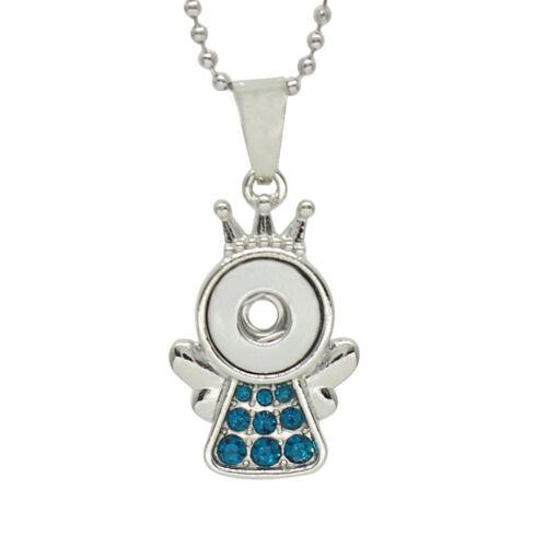 "1 Pendant Necklace Fit 12MM Snap Charm 18/"" Silver Angel Blue kc0312-s CJ0356"