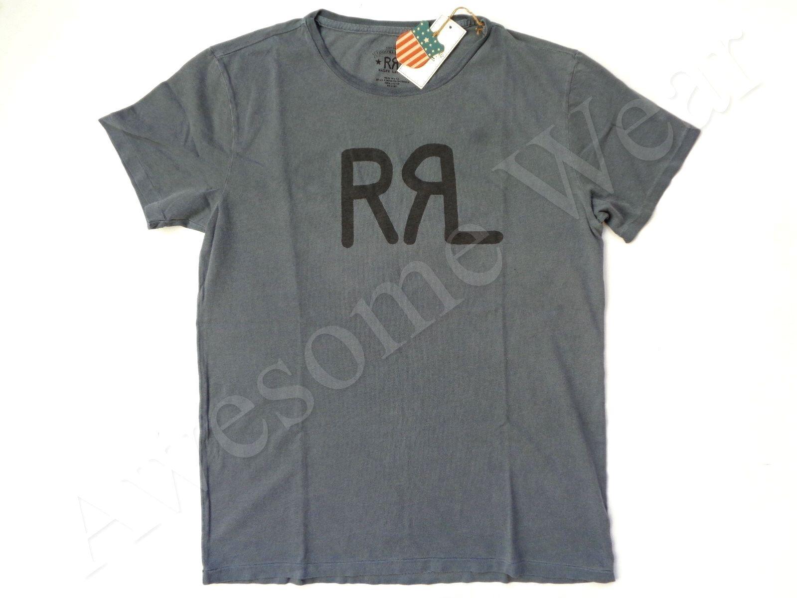 New Ralph Lauren RRL USA MADE 100% Cotton Faded Blau Logo T Shirt Slim Größe XXL