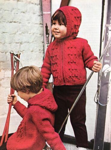 "K27 Knitting Pattern Children/'s Hooded Cardigan Jacket Sizes 22-30/"""