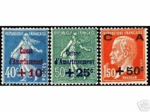 FRANCE-STAMP-TIMBRE-YVERT-N-246-48-034-CAISSE-AMORTISSEMENT-1927-034-NEUFS-x-TB