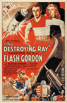 1936 Flash Gordon Larry Buster Crabbe cult serial movie poster print 3