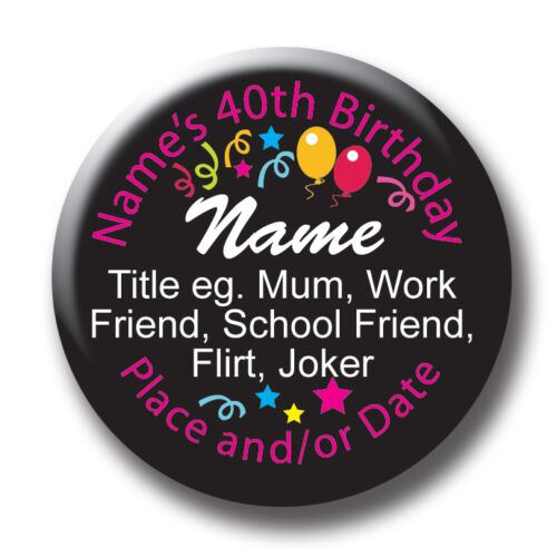 Personalised black balloon18th,21st,30th,40th,50th,60th,70th,80th,any age badges