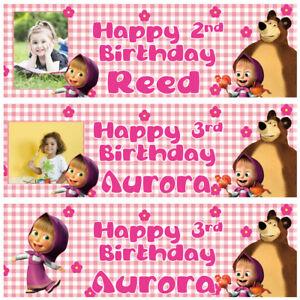 2-Striscione-di-compleanno-personalizzata-foto-Masha-e-Orso-Bambini-Ragazza-Festa
