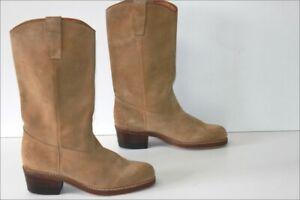 Bottes-Homme-Vintage-Daim-Camel-Doublees-Cuir-T-45-TBE
