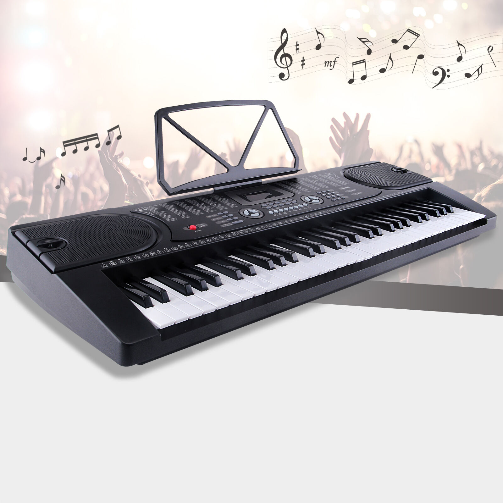 61 key music electronic keyboard electric digital piano organ w microphone black ebay. Black Bedroom Furniture Sets. Home Design Ideas