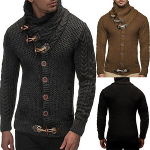 Thick-Warm-Lined-Cardigan-Mens-Turtleneck-Sweater-knitted-Coat-Jacket