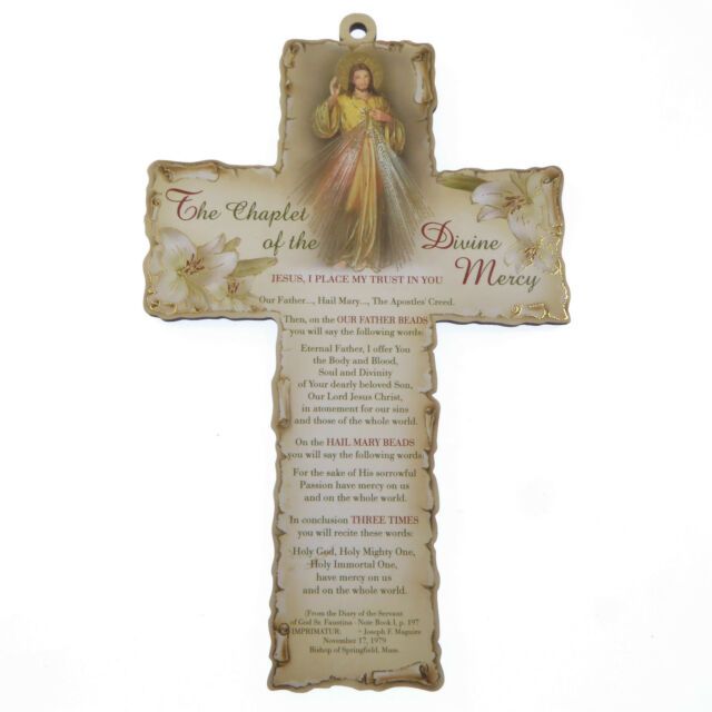 Catholic The Chaplet of the Divine Mercy 15cm wood cross hanging laser cut 6""