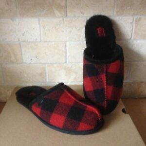 3315f543b12 Details about UGG SCUFF PLAID RED BLACK WOOL SHEEPSKIN SLIDE SLIP-ON  SLIPPERS SIZE US 9 MENS