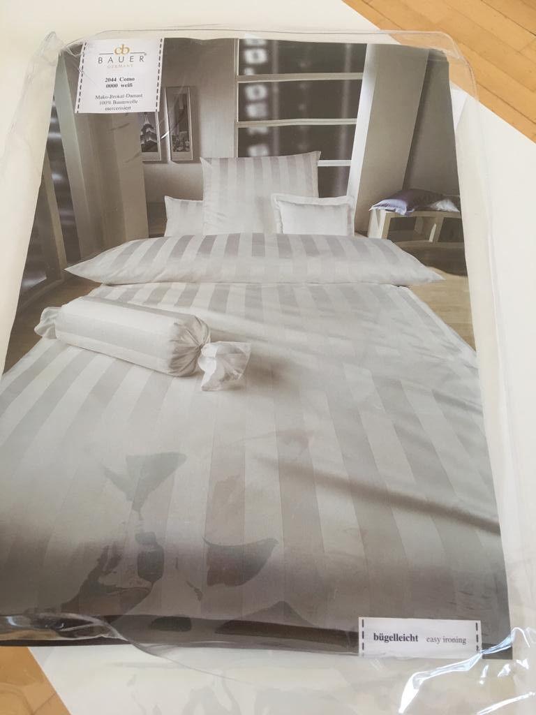 2x Luxus Bettwäsche Betten Rid COMO Mako-Brokat-Damast 135 x 200 NEU weiß