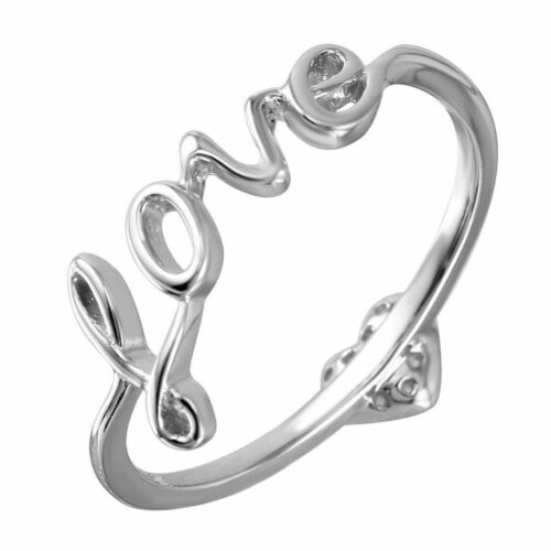 925 STERLING SILVER LADIES LOVE WITH HEART RING W// ACCENTS//SZ 5 TO 9