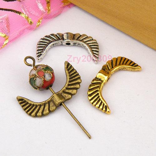 25Pcs Tibetan Silver Antique Gold Broze Aile Spacer Beads Bijoux À faire soi-même M1166