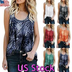 Womens Holiday T Shirt Vest Ladies Floral Cami Summer Tee Blouse Tops Flower UK