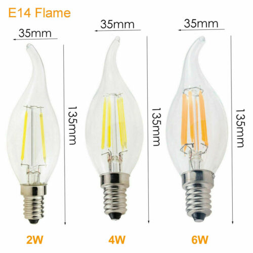 Vintage Retro Dimmable LED Filament Light Bulbs E14 SES 2W 4W 6W 220V Lamps RE