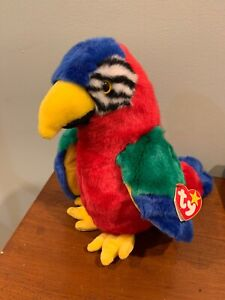 OCTOBER 10 BIRTHDAY TY BEANIE BUDDY and BABY SET JABBER THE COLORFUL PARROT