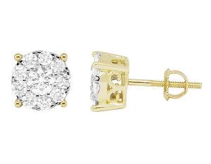 14K-Yellow-Gold-Ladies-Genuine-VS-Diamond-Round-Flower-Studs-Earrings-1-25ct-9MM