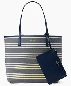 NWT-Kate-Spade-Mya-Reversible-Leather-Tote-Pouch-Navy-Fabric-Stripe-WKRU5701