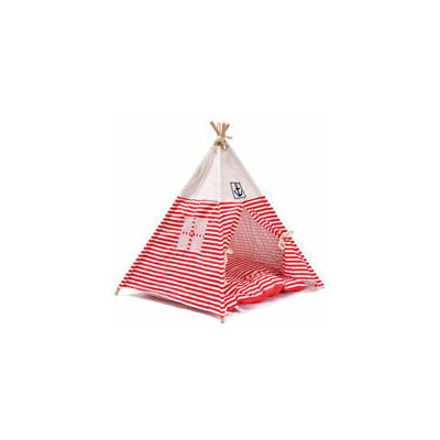 Striped Pet Kennel Navy Striped Teepee Tent Cat Dog Bed Puppy Kitten Play House