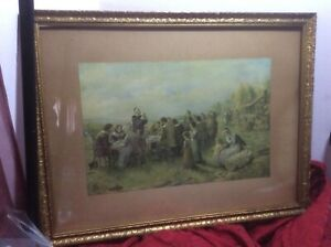 Antique-Gilded-Gilt-Wall-Picture-Wood-Frame-Thanksgiving-Feast-Print-Deco-Estate