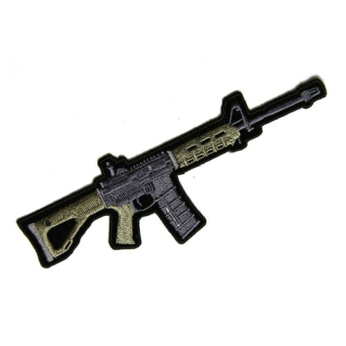 Embroidered AR 15 Assault Rifle Sew or Iron on Patch Biker Patch